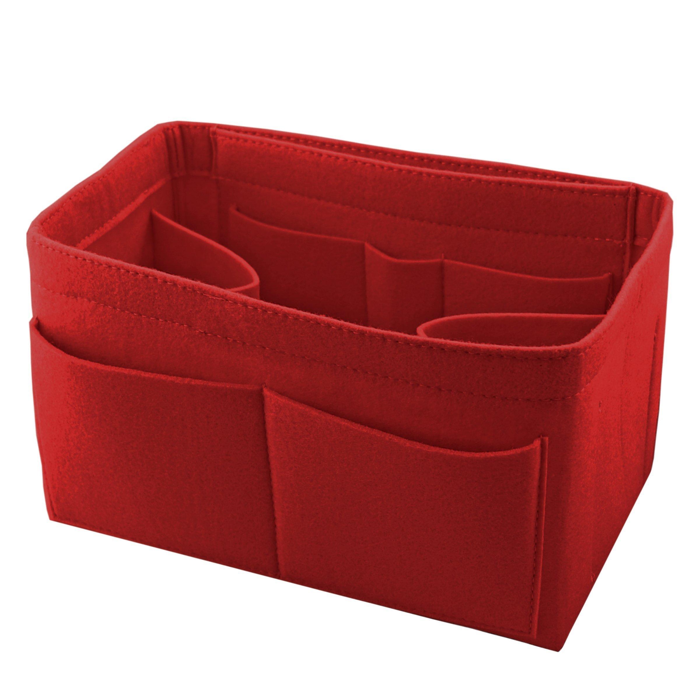 2mm Felt Fabric Handbag Purse Insert Organizer Bag 10 Pockets Bag in Bag Super light weight (Large, Red)