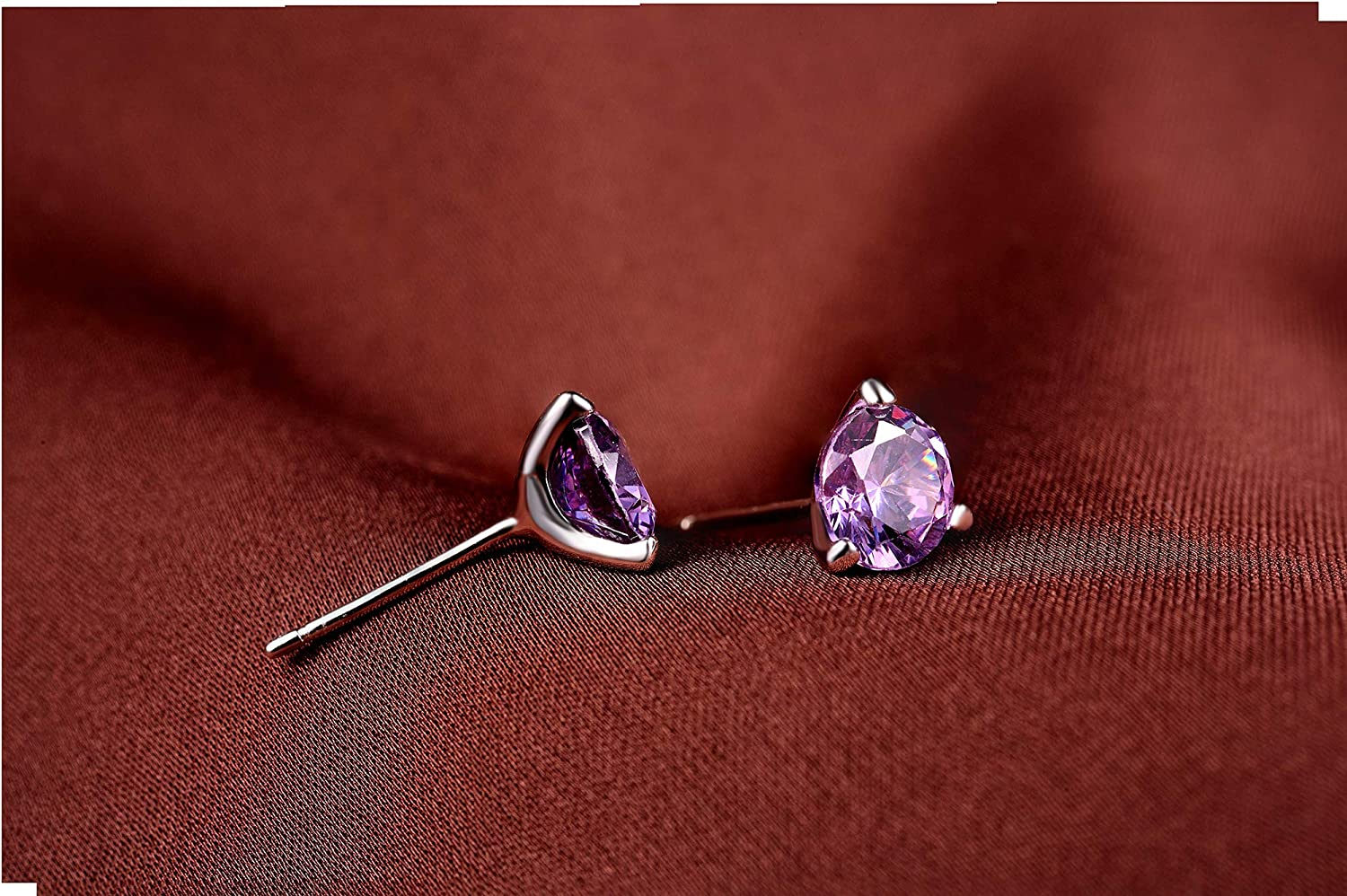 Purple. FHX Factory Direct Sales Jewelry Simple All-Purpose 925 Sterling Silver Earrings Women Fashion Set Zircon First Accessories Wholesale Color White