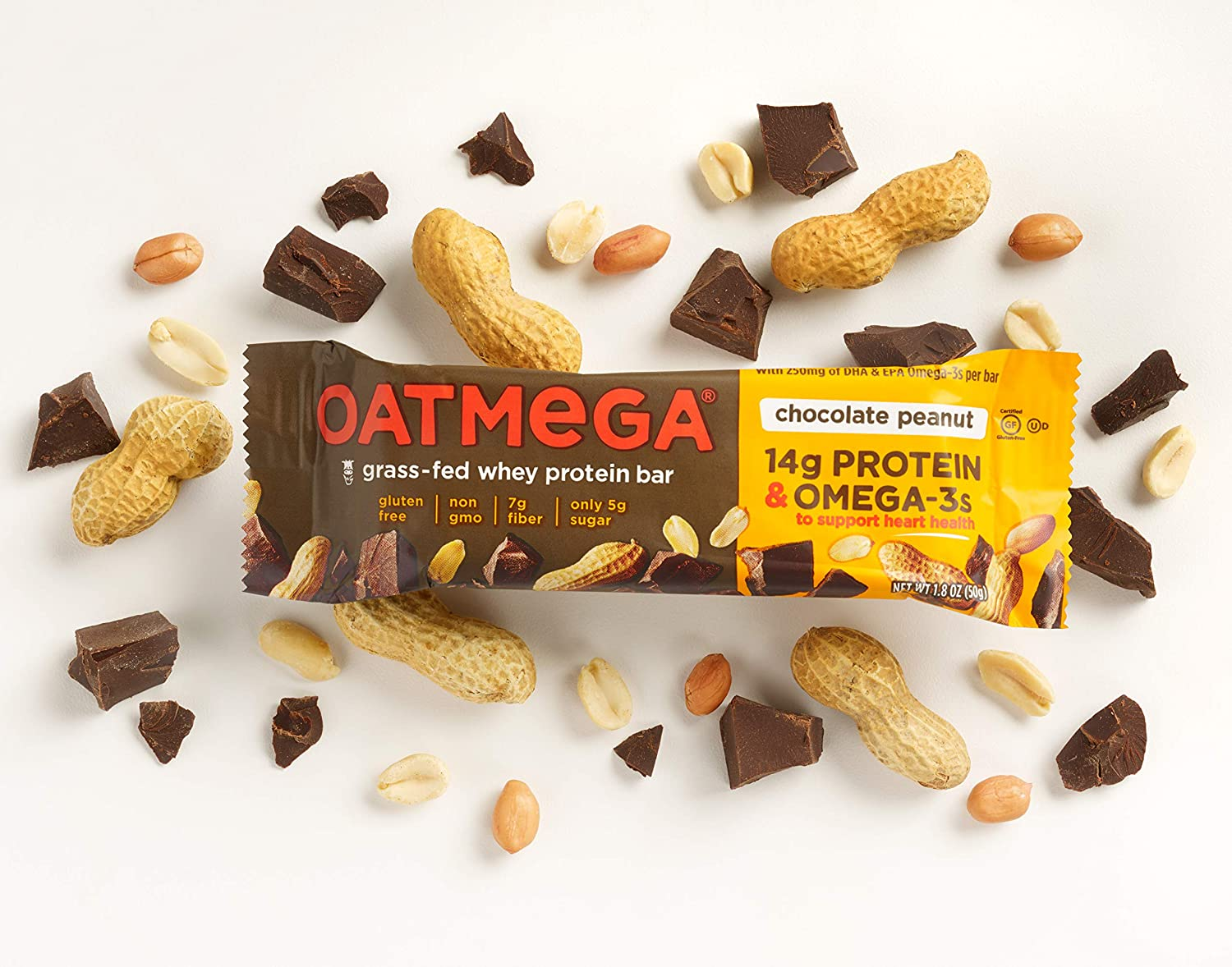 OATMEGA Protein Bar, Chocolate Peanut, Energy Bars Made with Omega-3 and Grass-Fed Whey Protein, Healthy Snacks, Gluten Free Protein Bars, Whey Protein Bars, Nutrition Bars, 1.8 ounce 12 Count