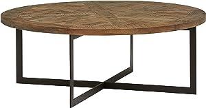 "Stone & Beam Industrial Round Coffee Table, 48""W, Wood & Dark Metal"