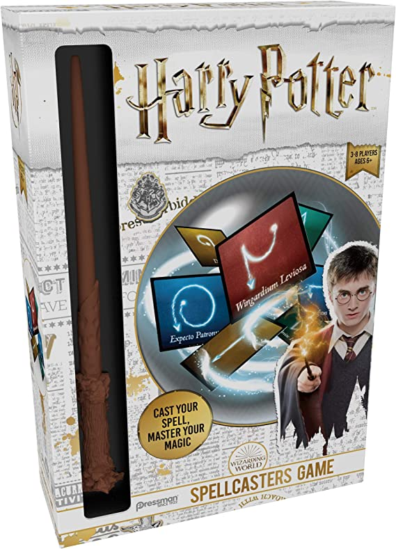 Amazon Com Harry Potter Spellcasters A Charade Game With A Magical Spin Cast Your Spell And Master Your Magic Includes Spellcaster Wand Replica Of Harry Potter S Wand 32 Spell And 32 Spellcaster