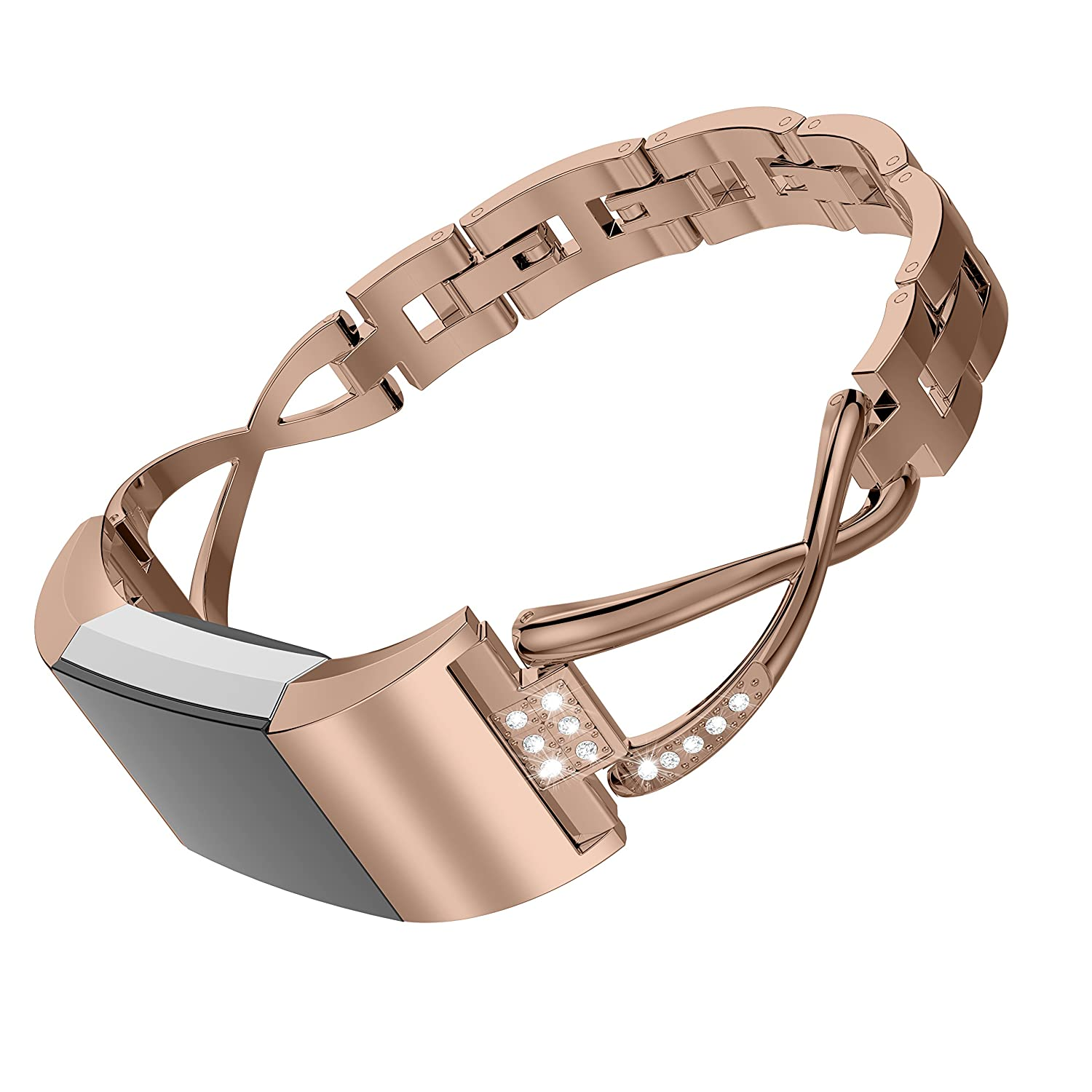 Wearlizer Replacement for Fitbit Charge 2 Bands for Women Metal Bangle//Bracelet//Assesories//Straps//Wrist Band for Fitbit Charge hr 2 Women Small Large