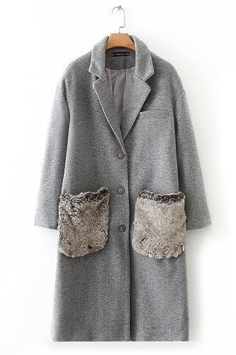 QIN&X La mujer otoño invierno flojo vellón de lana Tops casuales Coat ropa