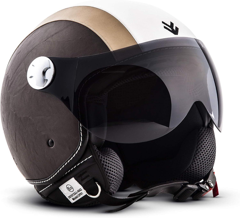 ARMOR Helmets AV-84 Casco Moto Demi Jet, Beige/Vintage Beige, S (55-56cm)