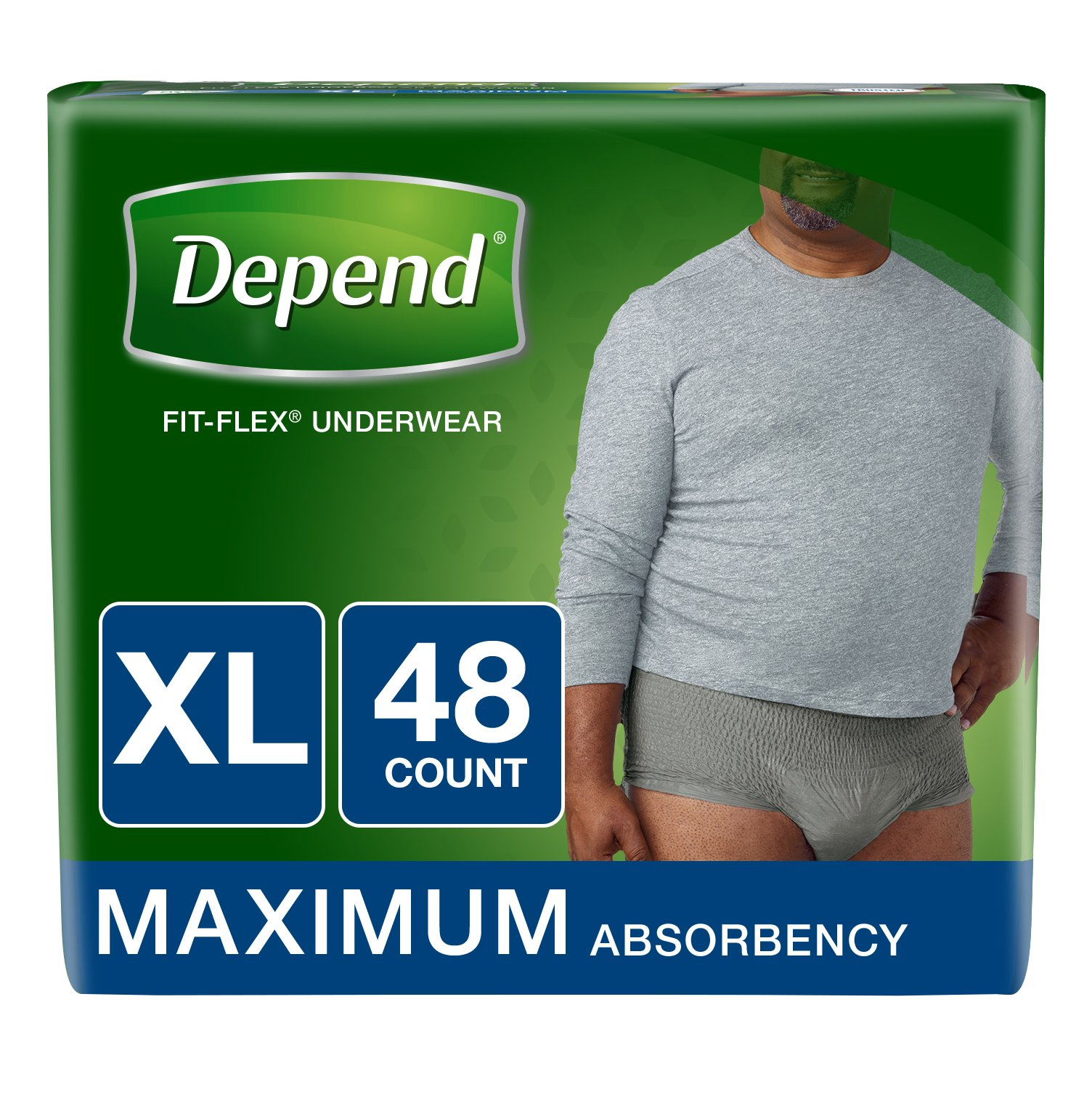Depend FIT-Flex Incontinence Underwear for Men, Maximum Absorbency, XL, Gray, 48 Count (Packaging May Vary)