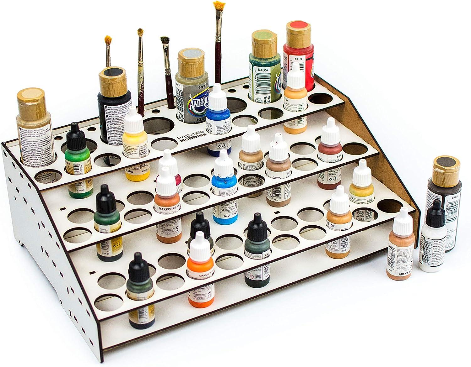 Soporte pinturas modelismo 2021 organizador pinturas modelismo accesorios maquetas warhammer kit paint stand rack organizar botes pinturas acrílicas pinceles miniaturas (A. Frontal con guías)