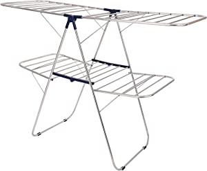 ALEAVIC Stainless Steel Clothes Drying Rack- Gull-Wing Laundry Rack for Indoor and Outdoor Use- Space Saving Adjustable Hanging Foldable Drying Rack-Best Used for Bed Linen (2-Level)