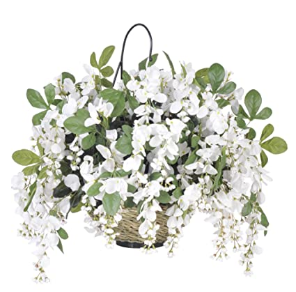 Amazon house of silk flowers artificial wisteria hanging basket house of silk flowers artificial wisteria hanging basket white mightylinksfo