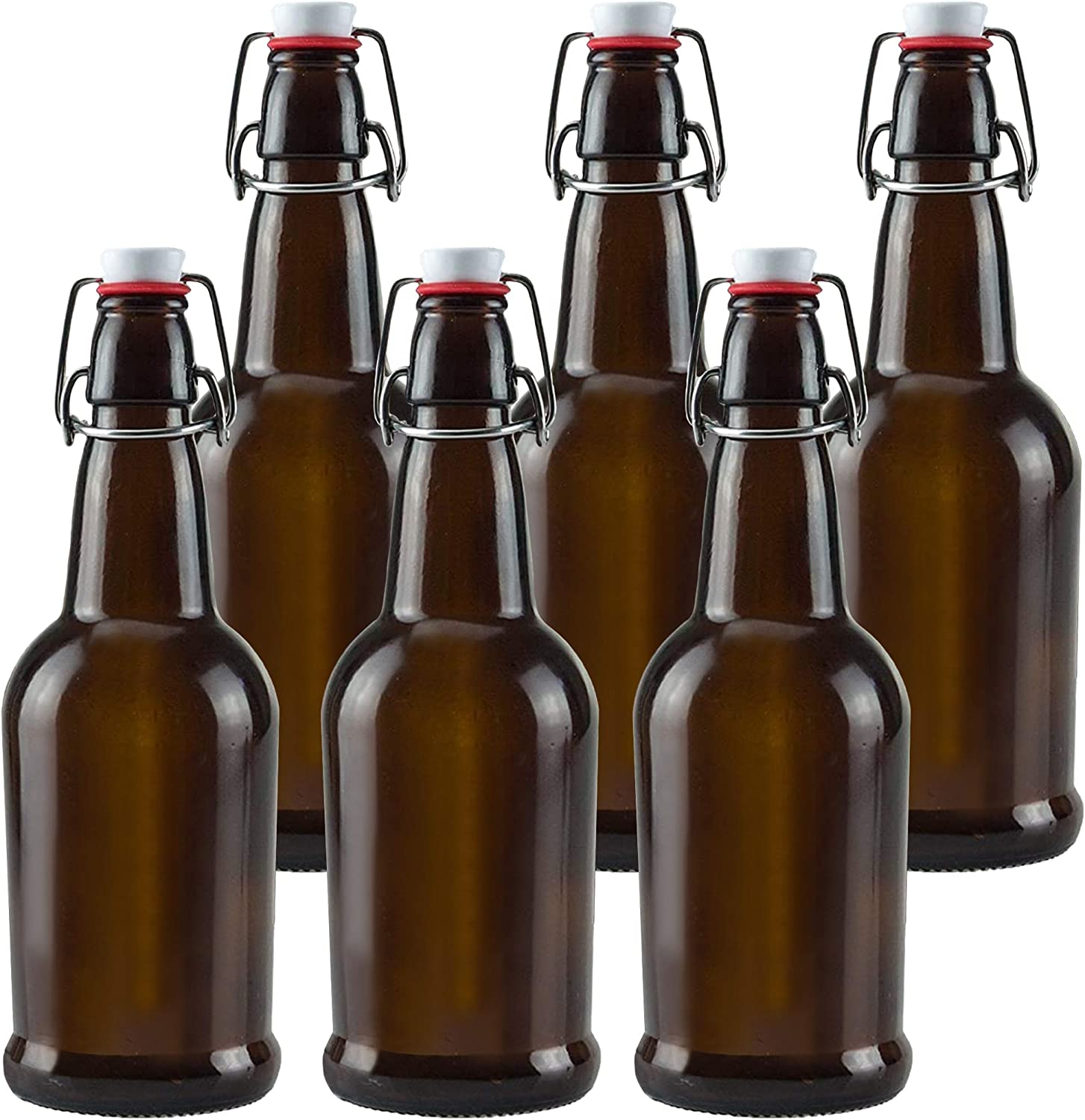 Glass Bottles with Swing Top Lids, Amber Glass Bottles for Home Brewing, Kombucha, Beer, and Other Liquor, 6 Pack by Chef's Star