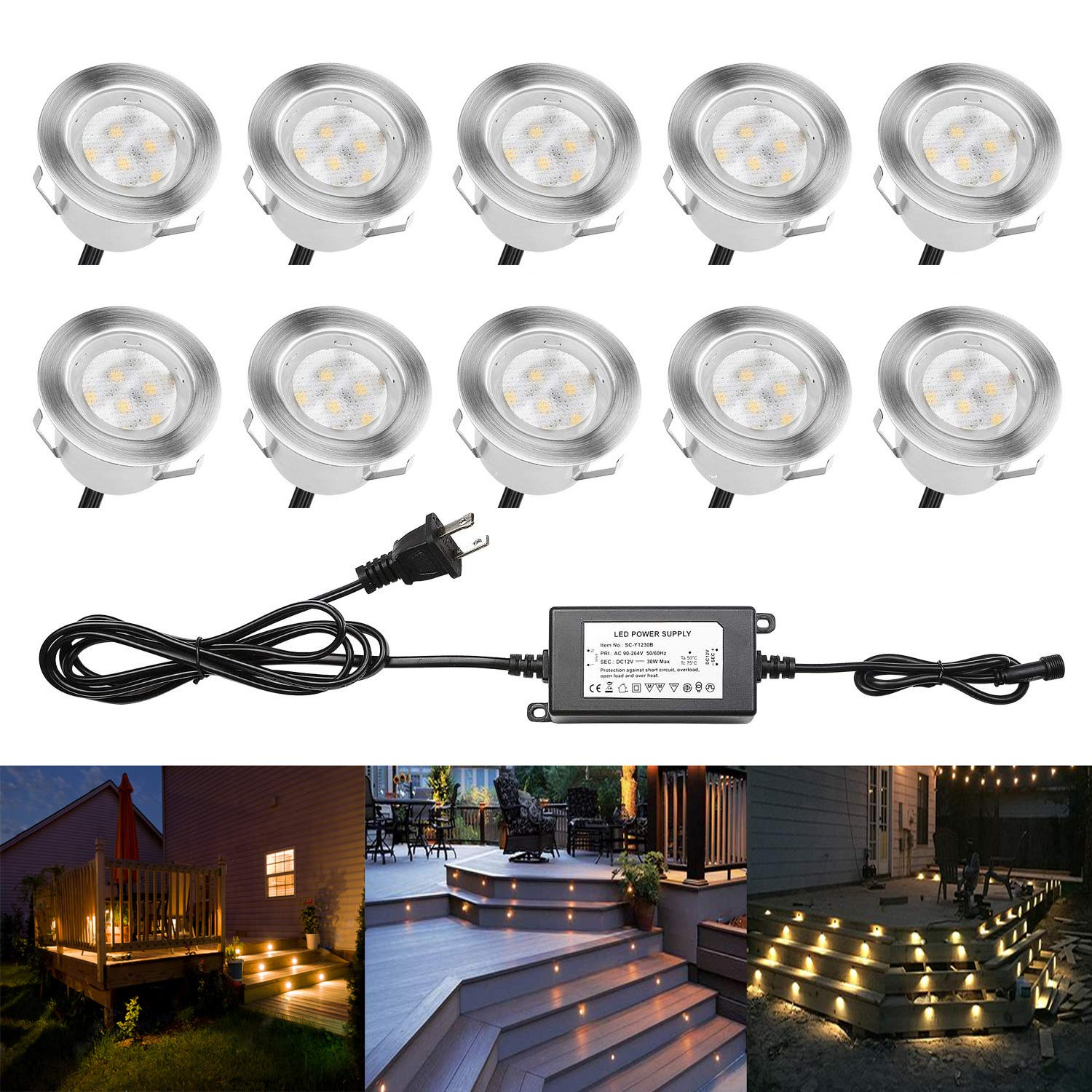 Low Voltage LED Deck Lighting Kit Stainless Steel Waterproof Outdoor Step Lights for Landscape Garden Yard Patio Step Decoration Lamps(10 Piece/Warm White)