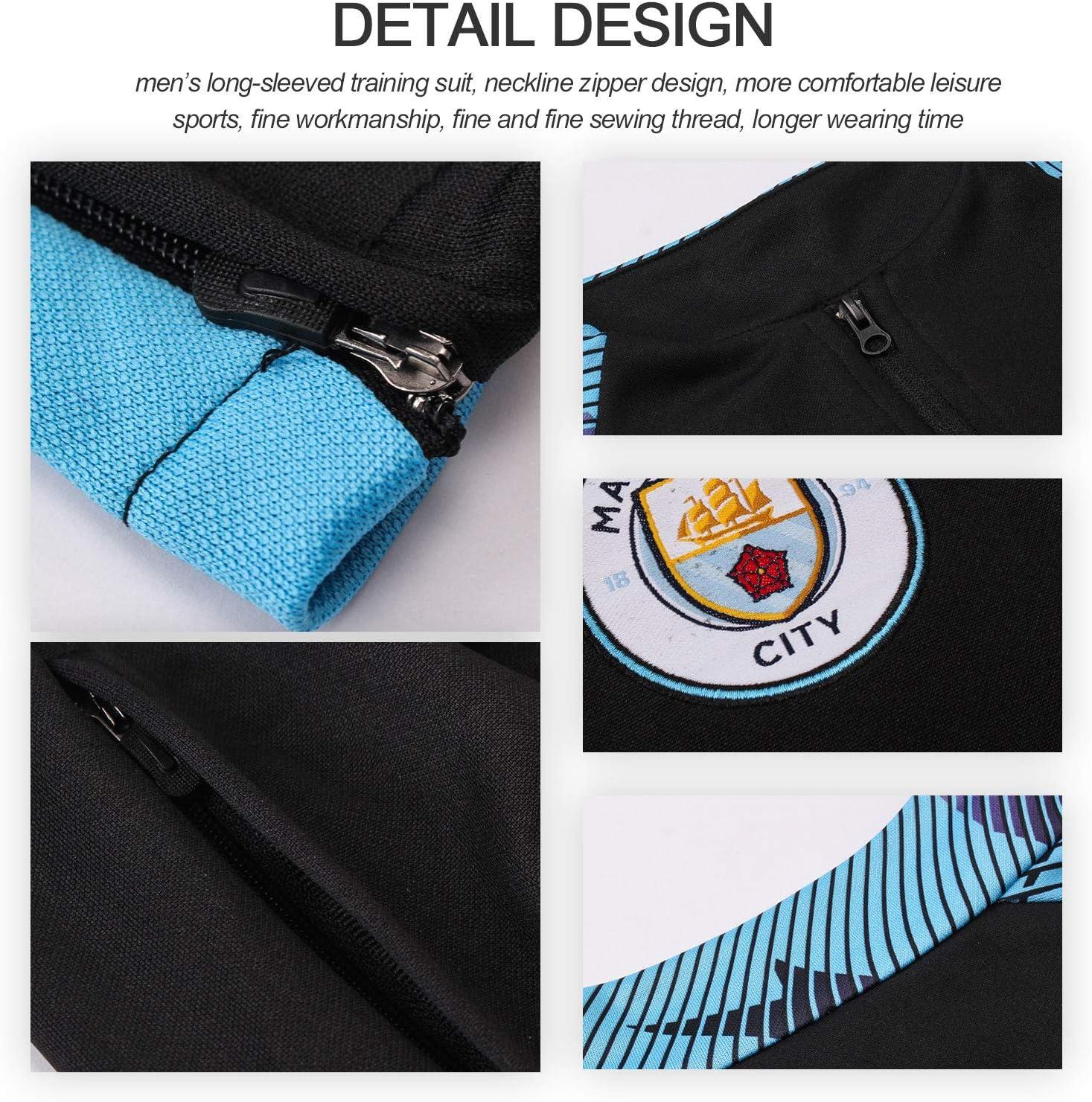 Pantalon Set 2 pi/èces NSRJ 19-20 Manchester City Football Costume de Formation pour Hommes//gar/çons-Noir Demi-Zip Pull Surv/êtement /à Manches Longues
