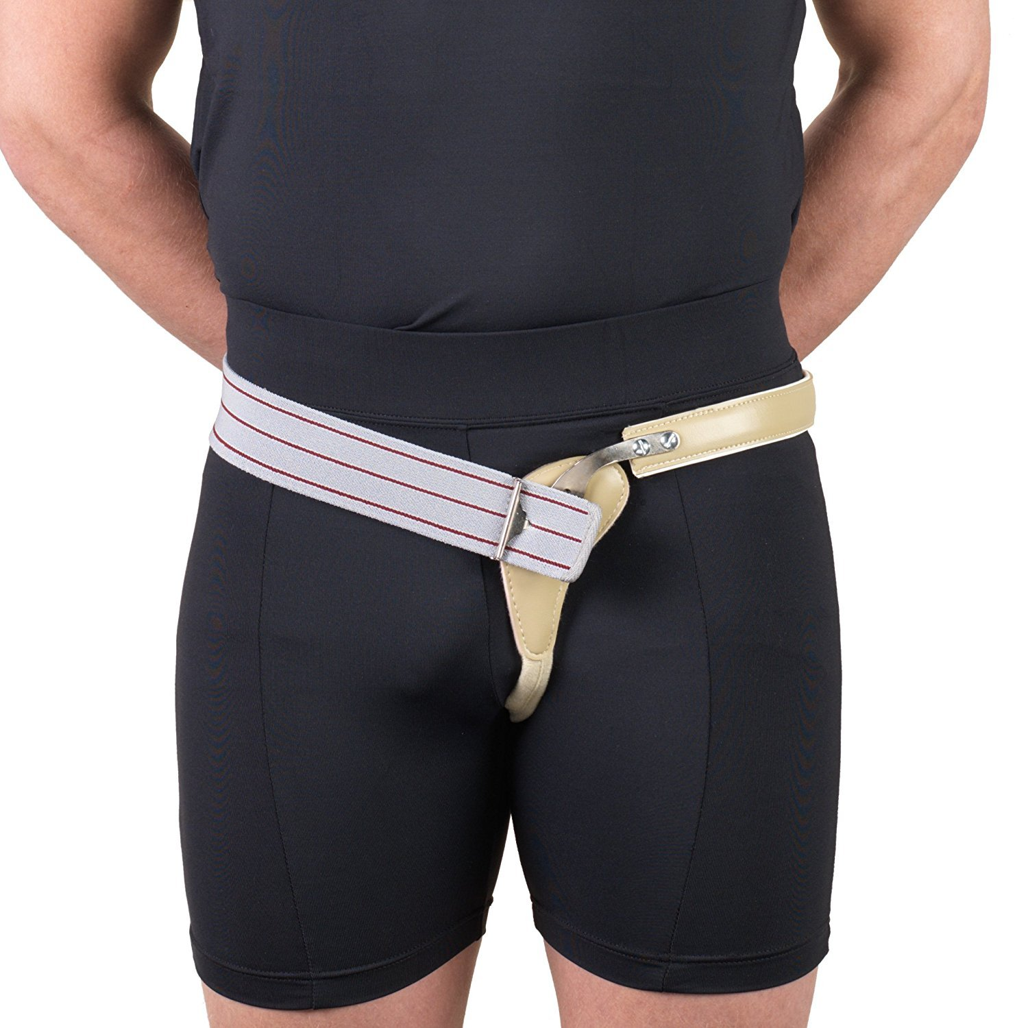 Hernia Truss, Single Spring, Scrotal Pad Compression, Elastic, 44 inch hip (Right)