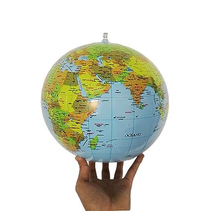 Awnic Globo Terráqueo Español Inflable Globo Terrestre Hinchable Castellano Juguete Geográfico 28cm Diámetro Material PVC TUP para Niños Adultos