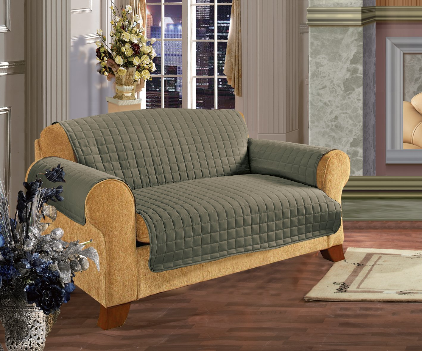 Elegance Linen Quilted Pet Dog Children Kids Furniture Protector Microfiber Slip Cover Sofa, Green Leeber Limited USA Green sofa1