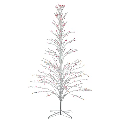 6 white lighted christmas cascade twig tree outdoor decoration multi lights - White Twig Christmas Tree