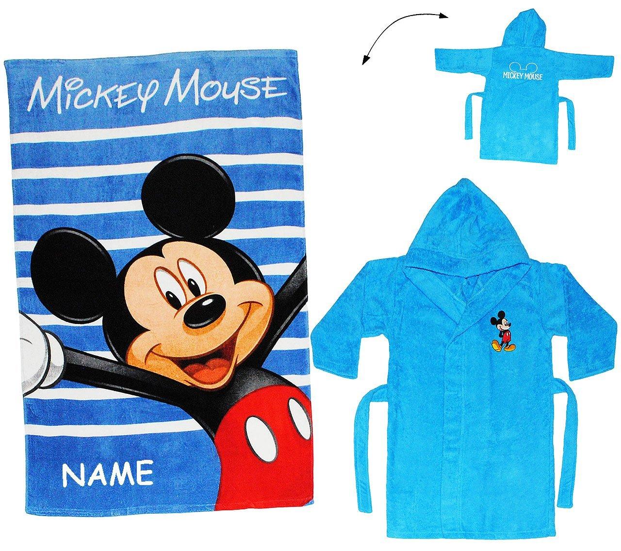alles-meine.de GmbH 2 TLG. Set _ Badetuch & Frottee Bademantel - Disney Mickey Mouse - incl. Name - 2 bis 4 Jahre / Gr. 92 - 110 - 100 % Baumwolle - mit Kapuze - für Kinder /..