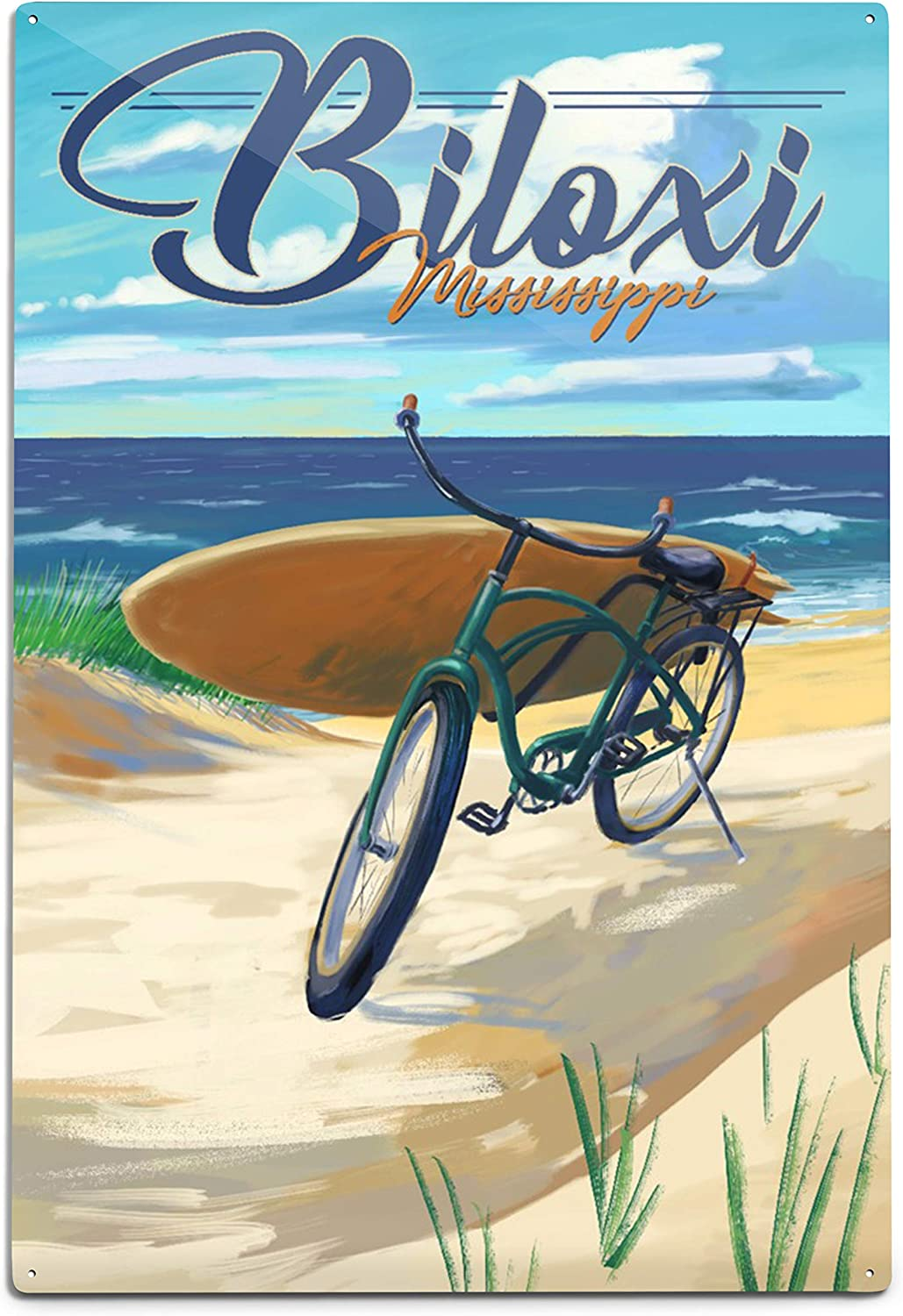 Amazon Com Biloxi Mississippi Beach Cruiser On Beach 12x18