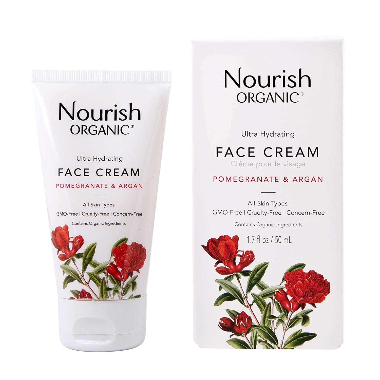 Nourish Organic Ultra Hydrating Face Cream, Argan & Pomegranate, 1.7 Ounce