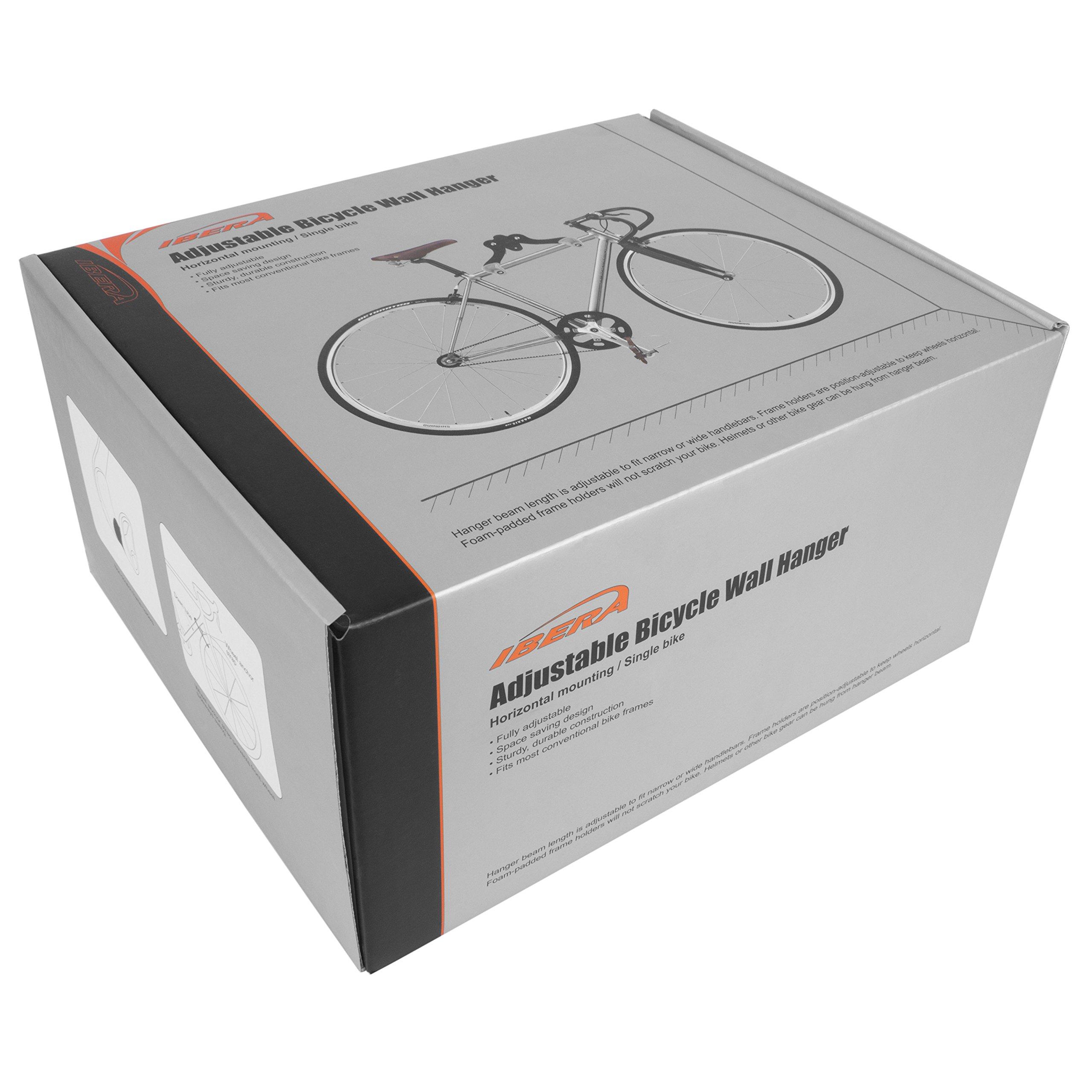 Ibera Horizontal Bicycle Bike Wall Hanger, Bike Hook Holder Storage Rack For Indoor Storage, 45 Degree Adjustable Angle To Keep Your Bike Level by Ibera (Image #8)