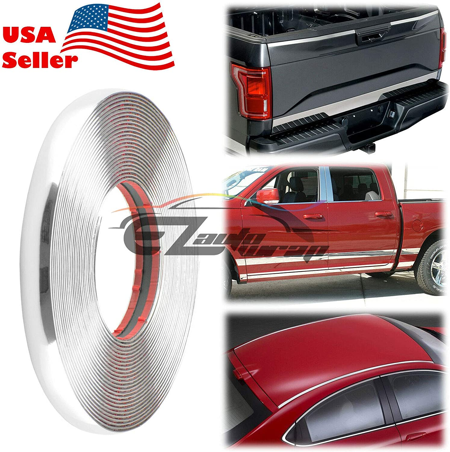 """DIY Chrome Side Door Cover Protection Molding Trim D.I.Y 3 Meters 120/"""""""