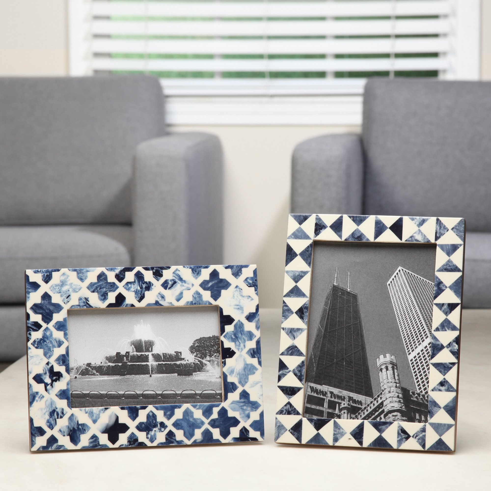 Hosley Indigo Geo Resin Tabletop Picture Frame, 5x7. Ideal Gift for Home, Wedding, Party. Home Office, Spa P2