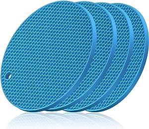 RASDDER Trivets for Hot Pots and Pans, 4 Pieces Silicone Trivet, Heat Resistant, Non-slip, Food Grade…