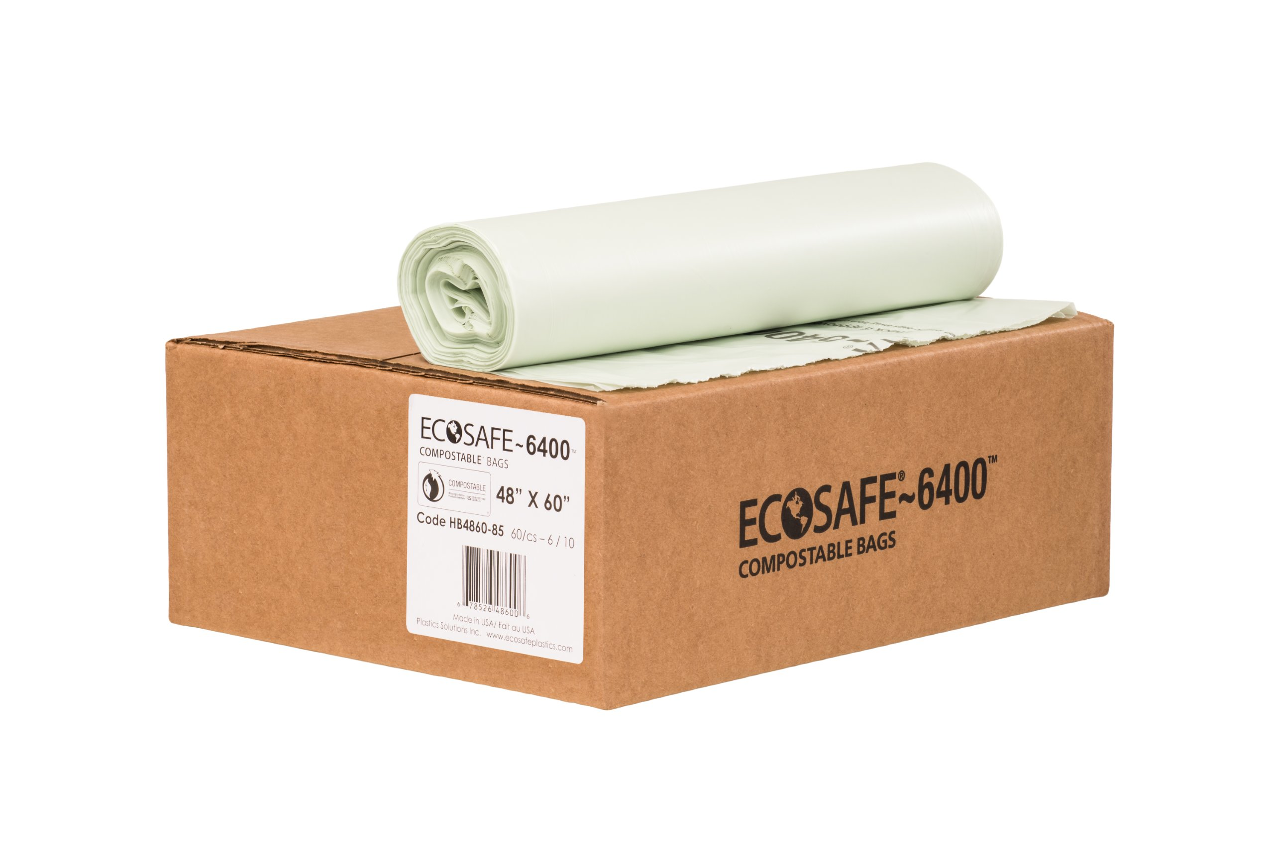 EcoSafe-6400 HB4860-85 Compostable Bag, Certified Compostable, 64-Gallon, Green (Pack of 60)