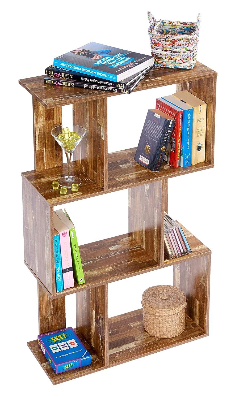 ts-ideen Libreria Mensoliera 102,5x60 cm color color Legno effetto consumato con 6 vani