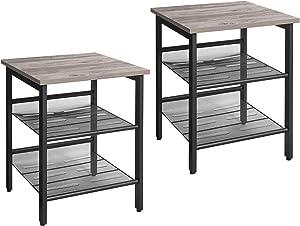 VASAGLE Nightstand, Set of 2 Side Tables, End Tables with Adjustable Mesh Shelves, for Living Room, Bedroom, Industrial, Stable Steel Frame, Easy Assembly, Greige and Black ULET024B02