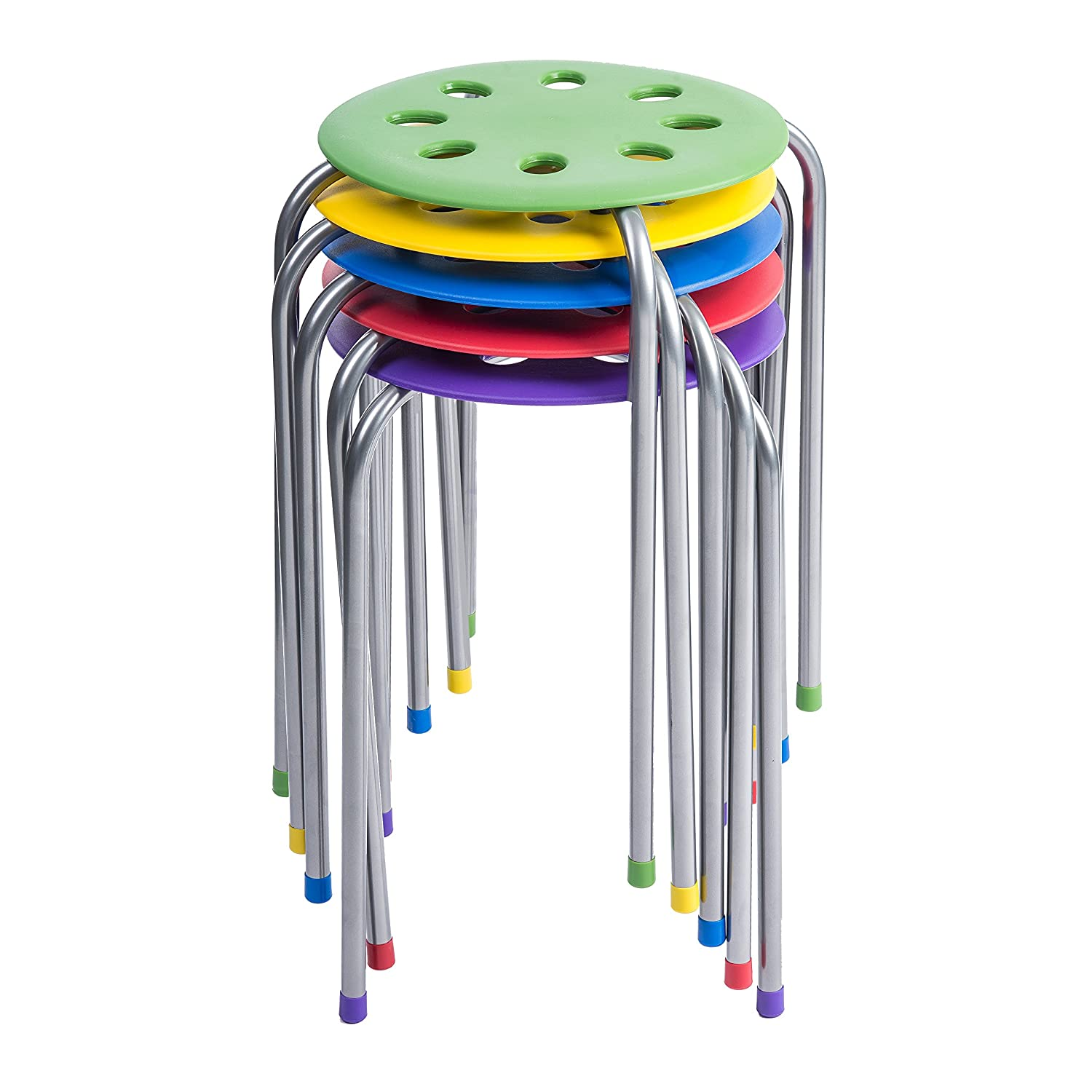 Pearington Plastic Classroom Furniture Stools for Kids; Multipurpose Stool Chairs; Flexible Seating; Stacking Stools, Stainless Steel Legs,- Set of 5, Multi-Color