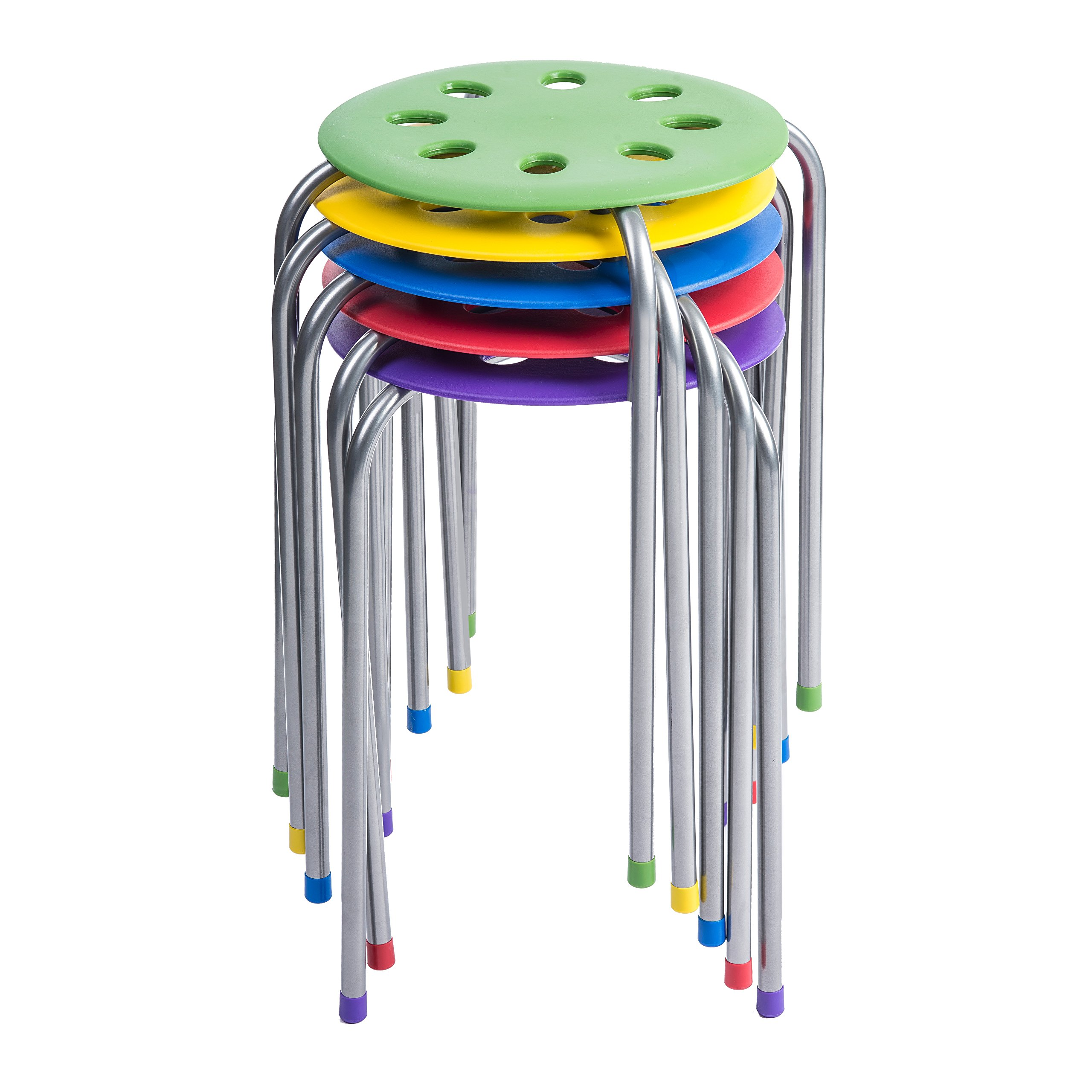 Pearington 16 Gauge Steel Classroom Furniture Stools for Kids; Multipurpose Stool Chairs; Flexible Seating; Stacking Stools- Set of 5, Multi- Color