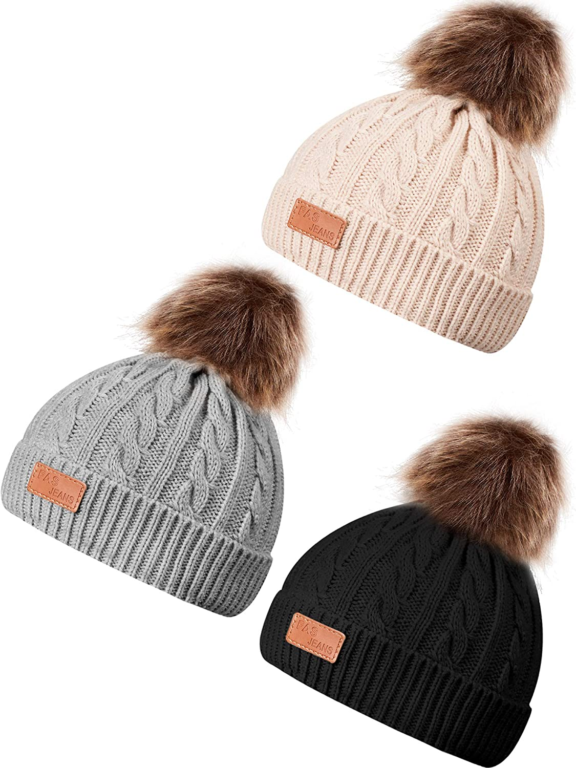 3 Pieces Baby Winter Hats Kids Warm Knit Beanie Cap with Pompom for Baby Toddler