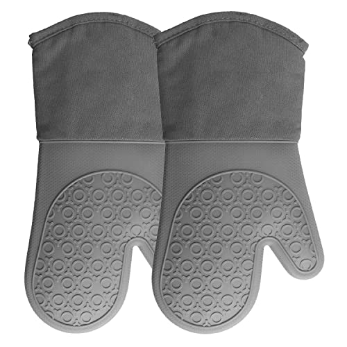 HOMWE Silicone Oven Mitts With Quilted Cotton Lining