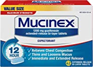 Chest Congestion, Mucinex Maximum Strength 12 Hour Extended Release Tablets, 42ct, 1200 mg Guaifenesin with extended relief