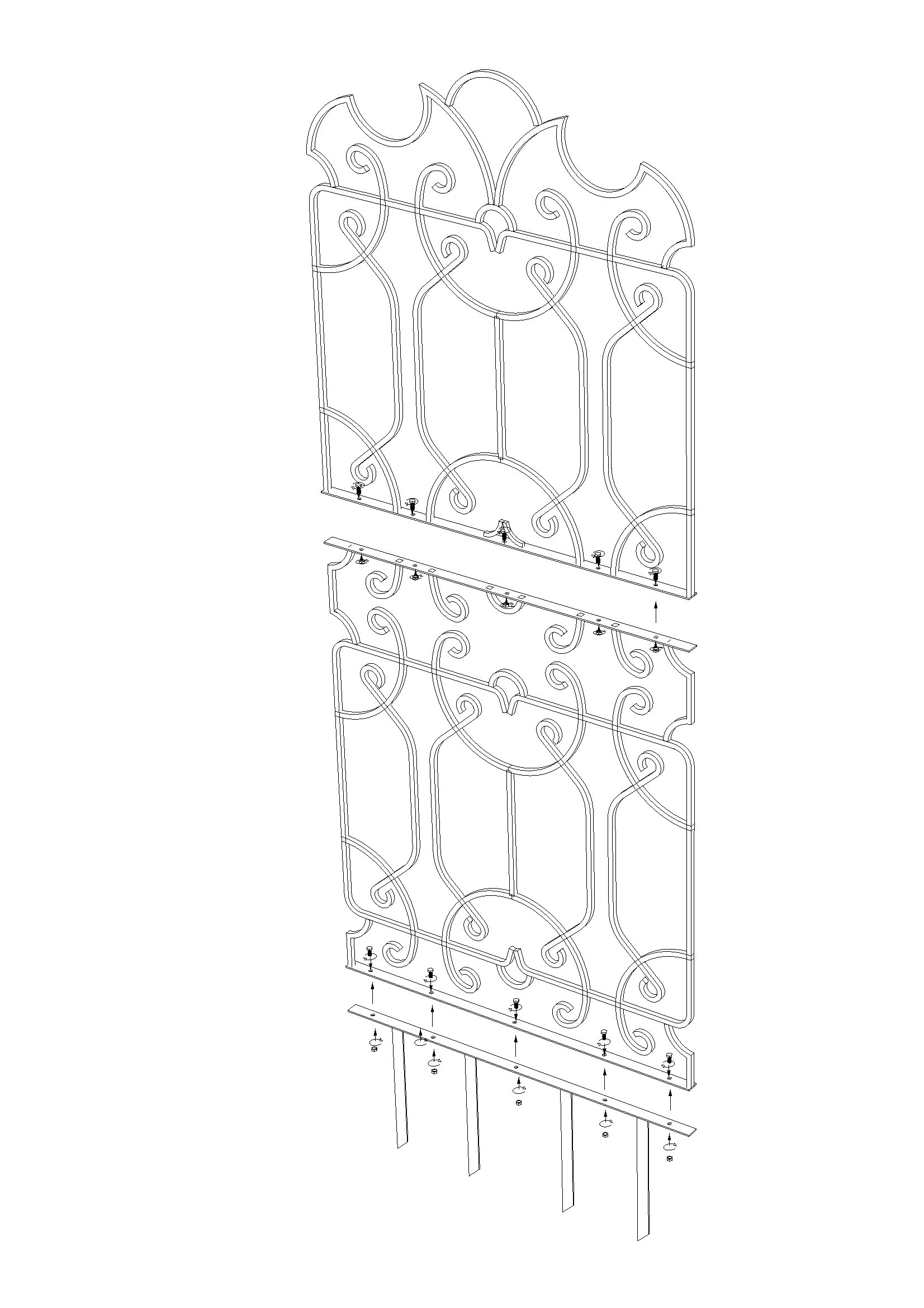H Potter Wrought Iron Large Metal Ornamental Trellis - Weather Resistant- Yard Art - Wall Art