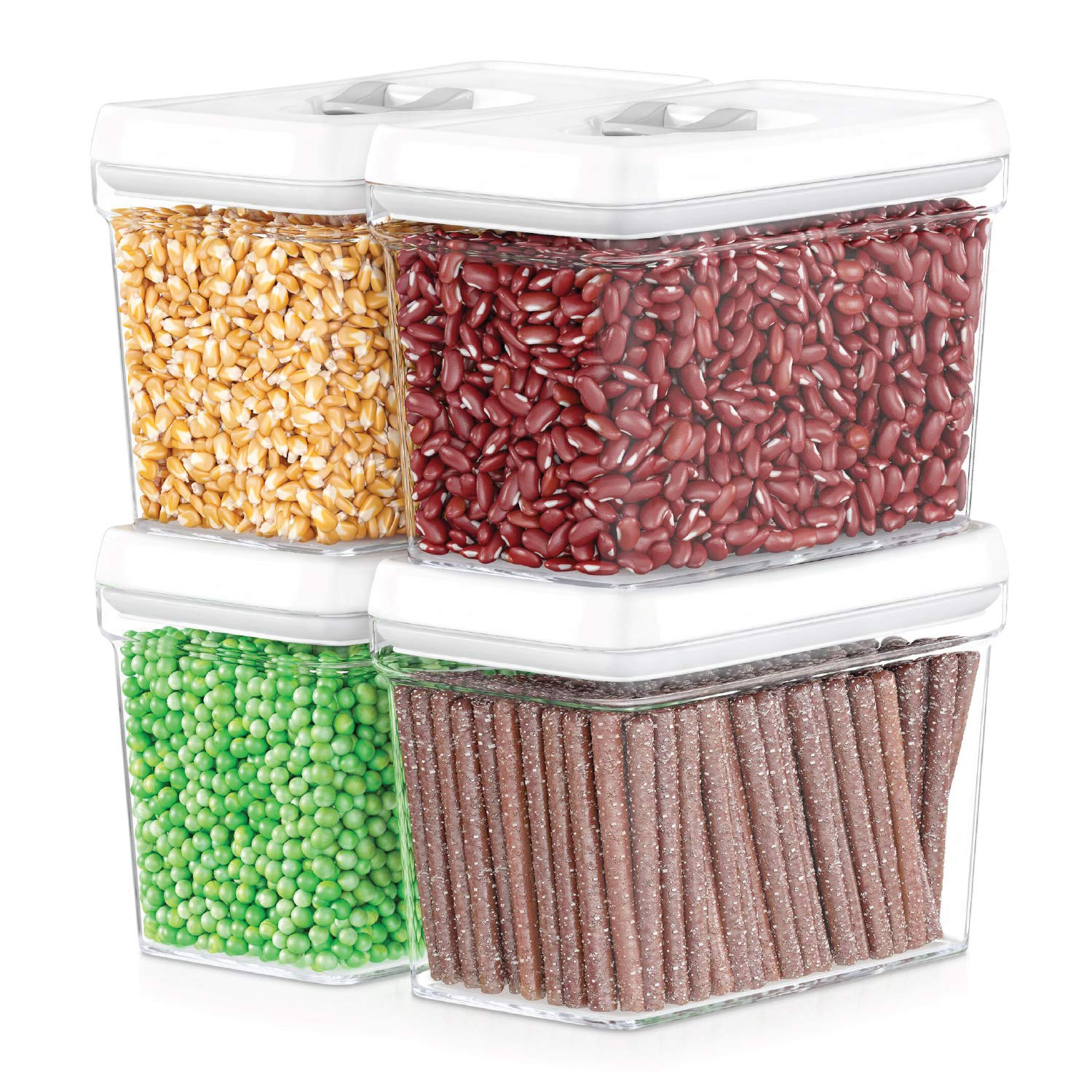 DWËLLZA KITCHEN Airtight Food Storage Containers - Pantry Snacks Kitchen Container, Baking Supplies, 4LB Sugar & Flour Canister - 4 Pc Set All Same Size - Clear Plastic BPA-Free - Keeps Fresh & Dry