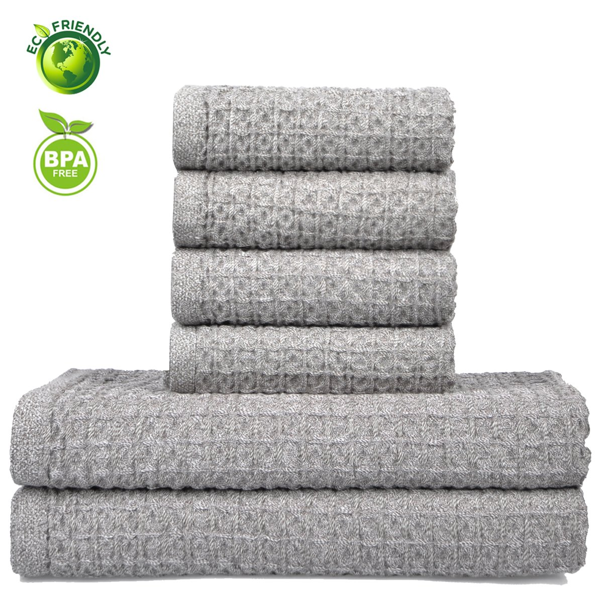 Vanca Bath Towels Sets Cotton Soft Durable Hand Large Shower Beach Absorbent Terry Gym Hotel Luxury Waffle Kids Towel (Grey)