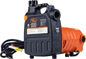 "SuperHandy Water Transfer Pump Utility 1/2 HP 1525 GPH Dual Thread 3/4"" Inch GHT 40' Feet Head Lift 120VAC Electric Heavy Duty Steel Transfer for Tanks Wells Flooded Basement Cellar for Farms Plumbing"