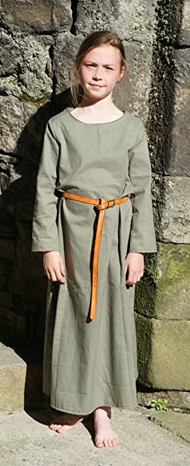 Medieval-LARP-Re enactment-SCA-Viking-Dark Age-Anglo-Saxon CHILD'S GREEN  KIRTLE UNDERDRESS Child Size XL Age 11-13