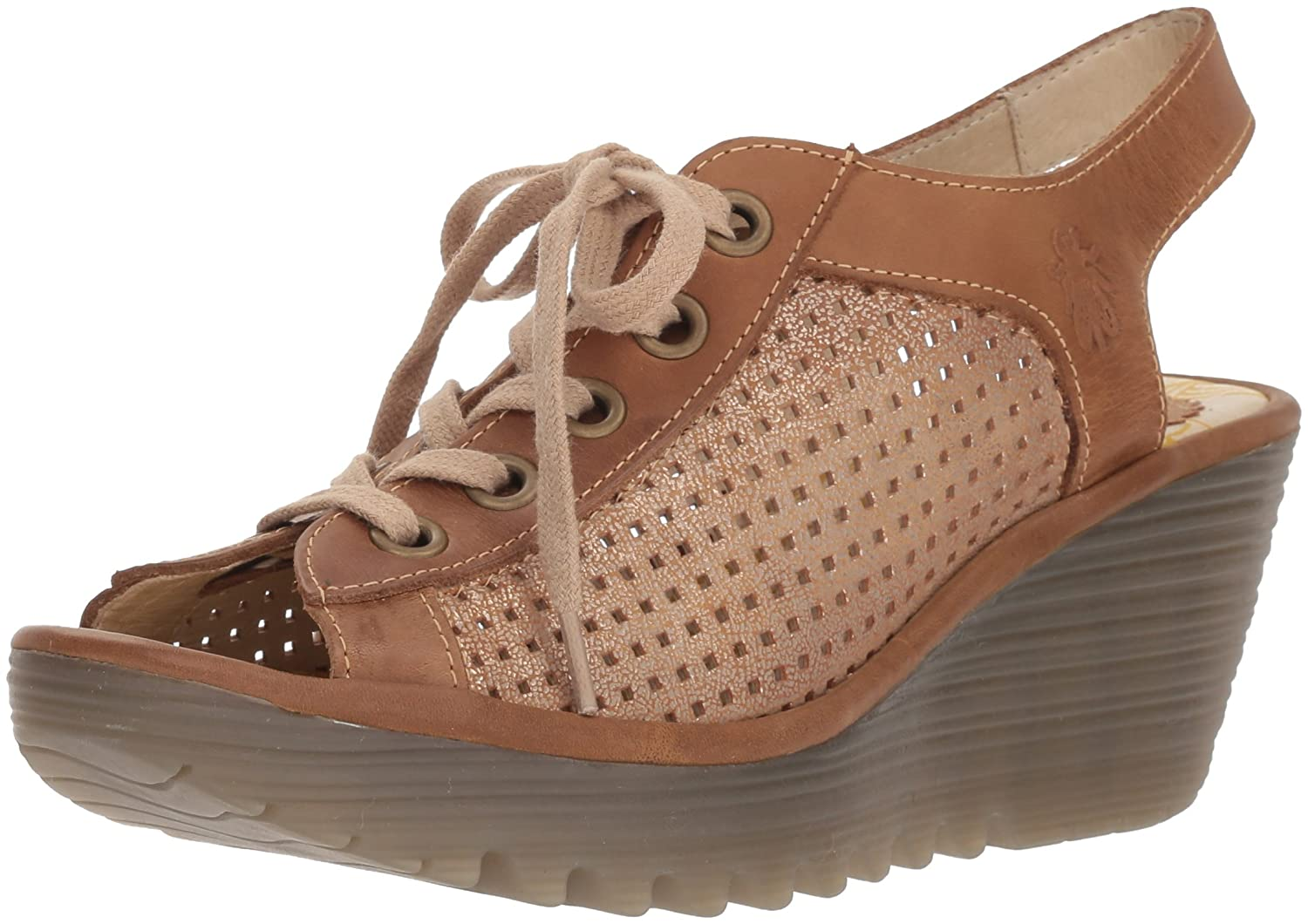 FLY London Women's YEKI841FLY Wedge Sandal B075B8ZVPT 42 M EU|Luna/Camel Cool/Rug