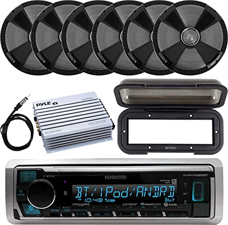 New Kenwood Marine Car Bluetooth SiriusXM Ready Radio 6 Black Speakers 400W Amp