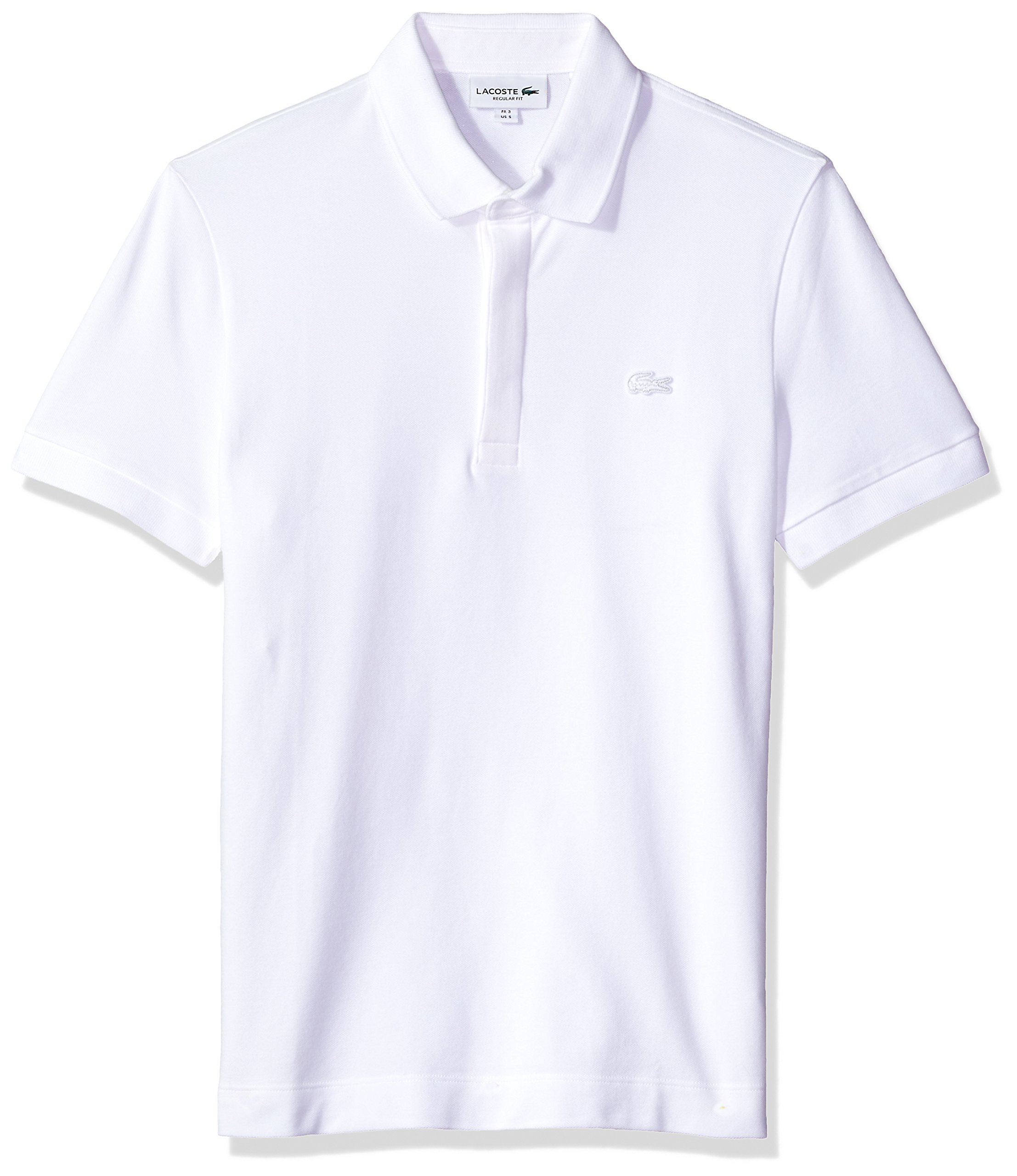 ecdb600eaa Galleon - Lacoste Men's Short Sleeve Solid Stretch Pique Regular Fit Paris  Polo, PH5522, White Large