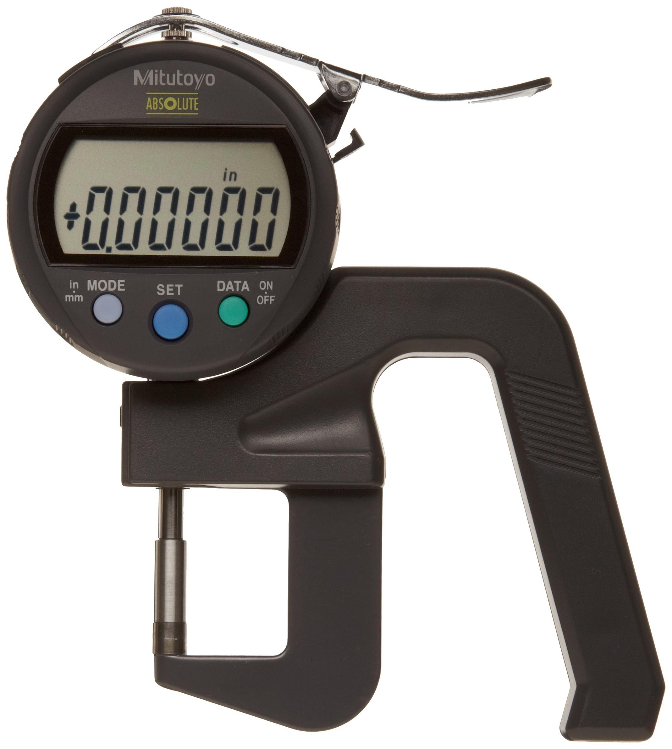 Mitutoyo 547-400S Digimatic IDC Thickness Gage, Flat Anvil, High Accuracy Type, 0 - 0.47''/0-12mm Range, 0.00005''/0.001mm Resolution, +/-0.00015'' Accuracy