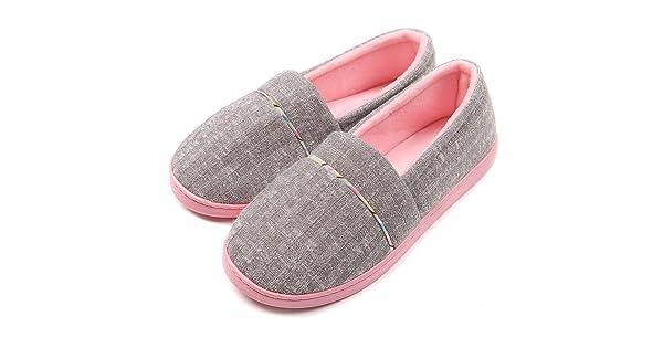 b019c8137fc6 ChicNChic Women Comfortable Cotton Knit Anti-Slip House Slipper Washable  Slip-On Home Shoes 6-6.5 B(M) US - Grey