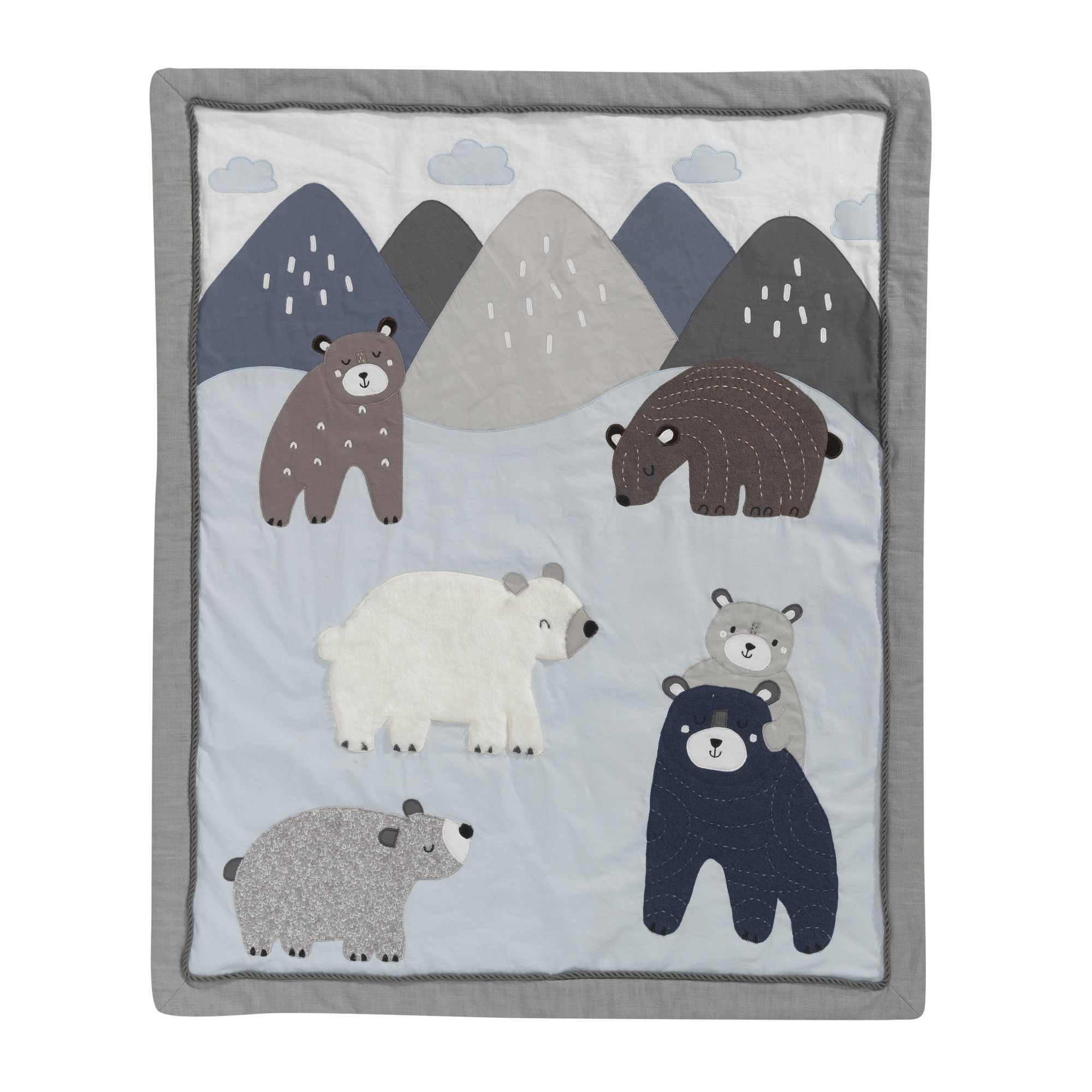 Lambs & Ivy Montana Blue/Gray Bears and Mountains Crib/Toddler Quilt/Comforter