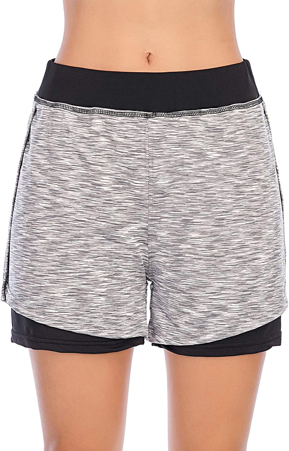 YAENEVE Womens Running Shorts with Pocket 2 in 1 Elastic Waist Double Layer Sports Workout Athletic Yoga Shorts with Liner