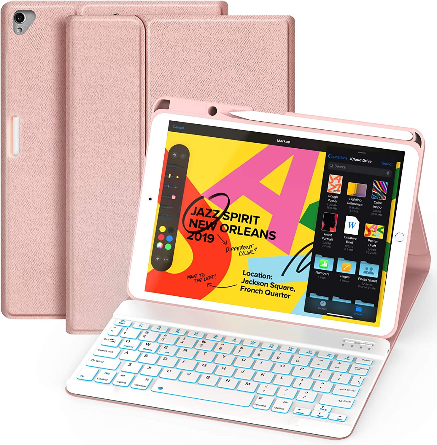 Maxfree iPad Keyboard Case 8th 7th Generation for iPad 10.2 2019, 7 Colors Backlit Magnetically Detachable Wireless Keyboard with Pencil Holder, Full Folio Cover for iPad 10.2 Inch, Rose Golden