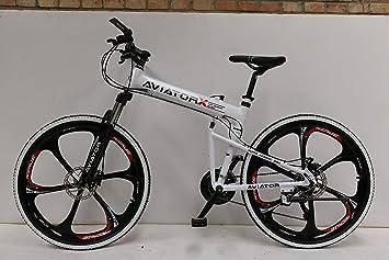 Aviator - Bicicleta de montaña Plegable de 66 cm, Freno de Disco y ...