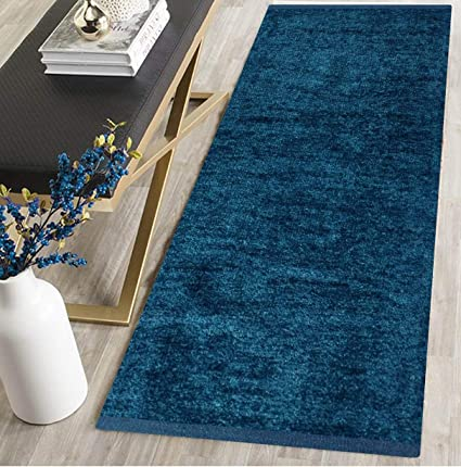 RN home furnishing Polyester Soft Indoor Modern Shag Area Rug Carpet with Feather Touch for Dining Room, Home Bedroom, (Blue Colour) (22 x 48)