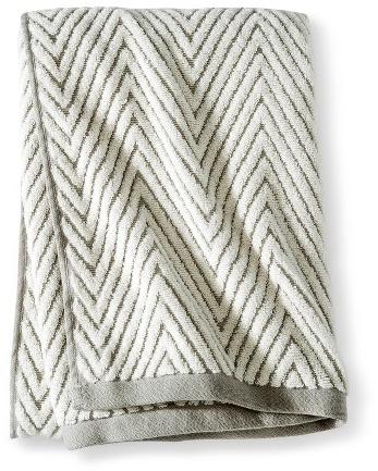 Threshold™ Chevron Textured Bath Towel - Cream/Gray : Target